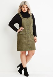 Forever 21 Plus Size Cargo Overall Dress Olive