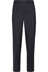 Oscar De La Renta Wool Blend Straight Leg Pants Blue