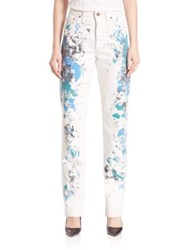 Rialto Jean Project 501 Basic Paint Splatter Denim Pants Blue White