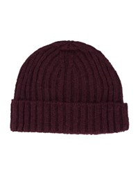 Oliver Spencer Burgundy Large Stitch Wool Hat