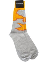 Issey Miyake Men 'Mole Yarn' Socks Yellow And Orange