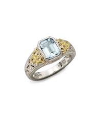 Judith Ripka Estate Blue Topaz White Sapphire 18K Yellow Gold And Sterling Silver Cushion Ring Silver No Color
