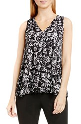 Vince Camuto Women's Drape Front V Neck Sleeveless Blouse Rich Black Lace Provincial