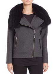 Mackage Felipa Fur Collar Bomber Jacket Charcoal