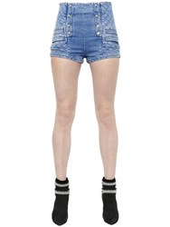 Pierre Balmain Quilted Stretch Cotton Denim Shorts