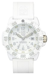 Men's Luminox 'Sea Navy Seal Colormark' Chronograph Silicone Strap Watch 43Mm White White