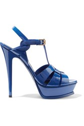 Saint Laurent Classic Tribute 105 Patent Leather Sandals Bright Blue