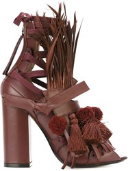 No21 Feather And Pom Pom Sandals Red