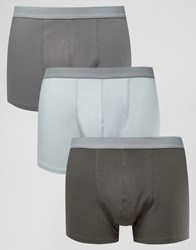 Asos Trunks With Grey Textured Waistband 3 Pack Multi
