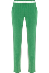 Joseph Relay Color Block Crepe Tapered Pants Green