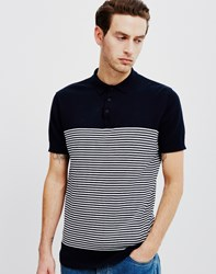The Idle Man Striped Polo Shirt Navy