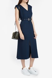 Tibi Women S Savanna Crepe Harness Dress Boutique1 Navy