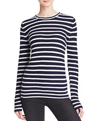 Aqua Cashmere Stripe Cashmere Sweater Peacoat White