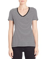 Lord And Taylor Plus Striped Stretch Cotton Tee Black