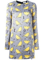 Au Jour Le Jour Bird Print Dress Grey