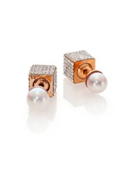 Vita Fede Double Cubo 6Mm White Akoya Pearl And Crystal Two Sided Earrings Rose Gold