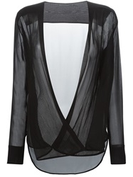 Ermanno Scervino Pleated Wrap Front Blouse Black
