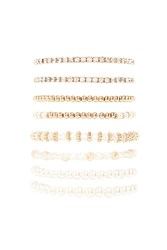 Forever 21 Faux Pearl Stretch Bracelet Set Gold Cream