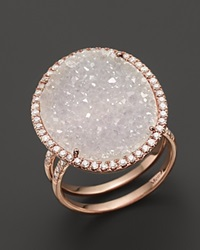 Meira T 14K Rose Gold Druzy Ring With Diamonds Pink