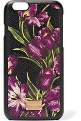Dolce And Gabbana Floral Print Textured Leather Iphone 6 Case Purple