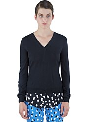 Altuzarra Colbert V Neck Polka Dot Fil Coupe Sweater Black