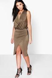 Boohoo Wrap Detail Sleeveless Midi Dress Mocha