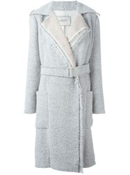 Lanvin Dropped Shoulder Belted Coat Nude And Neutrals
