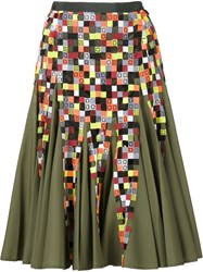 Sacai Pleated A Line Skirt Green