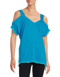 Red Haute Cold Shoulder Top Blue