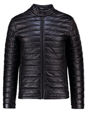 Jack And Jones Jcopupuffer Faux Leather Jacket Black