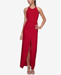Fame And Partners Cut Out Cross Back Dress Cherry Red