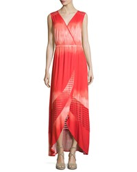 Neiman Marcus Sleeveless Faux Wrap Maxi Dress Red Coral