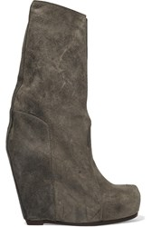 Rick Owens Distressed Leather Wedge Boots Gray