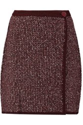 Sonia Rykiel Stretch Wool Blend Boucle Wrap Mini Skirt Burgundy