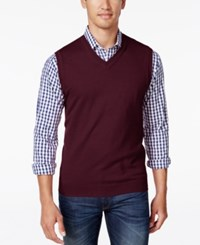 Club Room Men's Heartland V Neck Sweater Vest Only At Macy's Malbec