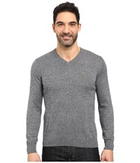 Lacoste Segment 1 Cotton Jersey V Neck Sweater Navy Blue Mouline Men's Sweater Gray