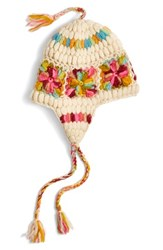 Nirvanna Designs Women's Flower Crochet Earflap Hat Ivory Ivory Multi