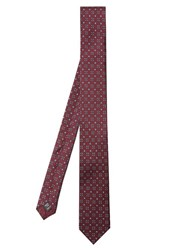 Dolce And Gabbana Geometric Print Silk Tie Burgundy