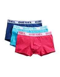 Diesel Three Pack Stretch Cotton Boxer Trunks Pink Turquoise