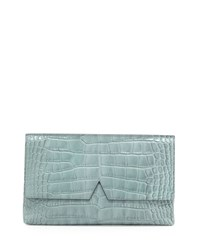 Signature V Crocodile Embossed Clutch Bag Sage Green Women's Vince