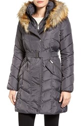 Rachel Roy Women's Faux Fur Trim Quilted Coat With Bib Gunmetal