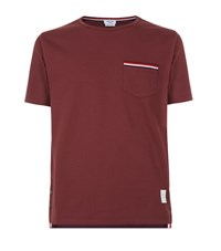 Thom Browne Striped Pocket T Shirt Male Red