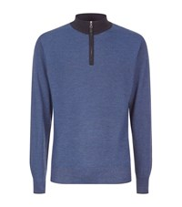 Peter Millar Half Zip Wool And Silk Jumper Male Navy