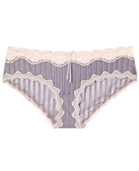 Heidi By Heidi Klum Mesh And Lace Striped Hipster H308 1168B Only At Macy's Heather Mist Silver Peony