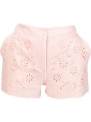 Ermanno Scervino Broderie Anglaise Shorts Pink And Purple