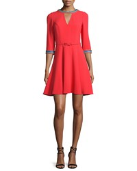 Andrew Gn Embroidered 3 4 Sleeve Fit And Flare Dress Coral Multi Size 34