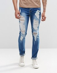 Sixth June Skinny Jeans With Extreme Distressing Blue