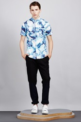 Opening Ceremony Large Painted Leaves Short Sleeve Tide Button Up Pelagic Blue Multi