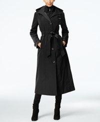 London Fog Hooded Layered Maxi Trench Coat Black