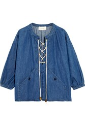 The Great Rope Detailed Lace Up Denim Top Mid Denim